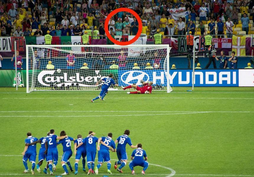 English fan flashing during Italian penalty kick